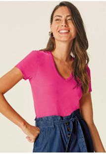 Blusa Rosa Escuro Canelada Decote V