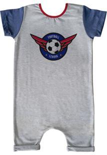 Pijama Curto Comfy Football League Cinza