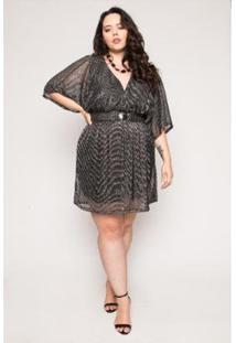 Vestido Almaria Plus Size Lady More Tule Lurex Feminino - Feminino-Preto