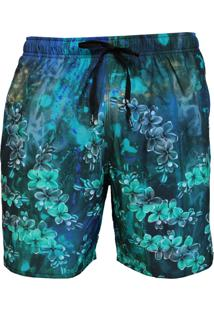 Short Alkary Elástico Floral Azul