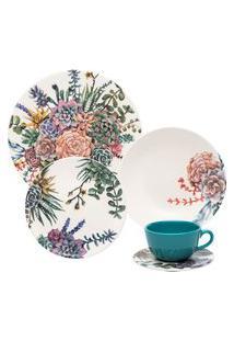Aparelho De Jantar E Chá Oxford 30 Peças Cerâmica Unni Bothanica