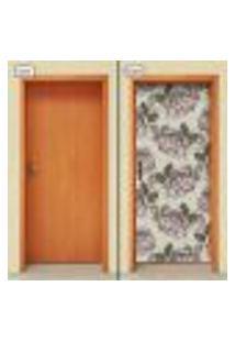Adesivo Decorativo De Porta - Flores - 1510Cnpt