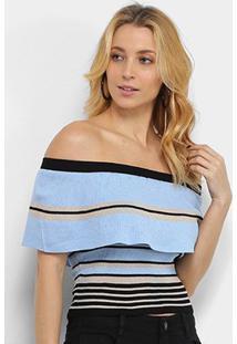 Blusa Allexia Canelada Ombro A Ombro Multi Color Feminina - Feminino-Azul+Preto