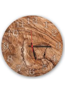 Relógio De Parede Decorativo Madeira Rústico 35Cm Médio