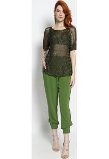 Blusa Em Tricô Com Paetês- Verde Militar- Le Fixle Fix
