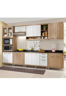 Cozinha Completa Com Tampo 15 Portas 3 Gavetas 5835 Argila/Branco - Multimóveis