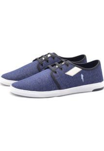 Sapatênis Polo Blu Casual Recortes Jeans Azul