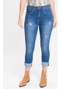 Calça Jeans Five Pockets High Rise Slim - Azul Médio - 34
