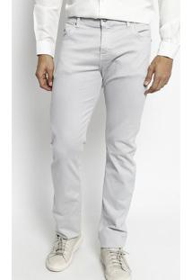 Calça Slim Fit Em Sarja Com Bordado - Cinza Claroogochi