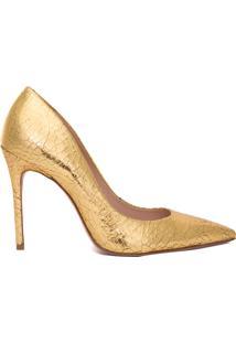 Scarpin Cracked Metallic - Dourado