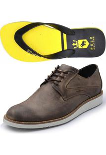Kit 2 Pares, 1 Sapatenis Avalon 1 Chinelo Polo Culture Kit Ab Marrom/Amarelo