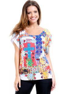 Blusa 101 Resort Wear Tunica Careca Estampada - Branco/Multicolorido - Feminino - Dafiti