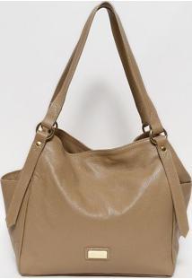 Bolsa Em Couro Texturizada- Bege & Dourada- 28X45X15Gregory