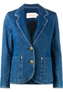 Tory Burch Jaqueta Jeans Com Abotoamento Simples - Azul