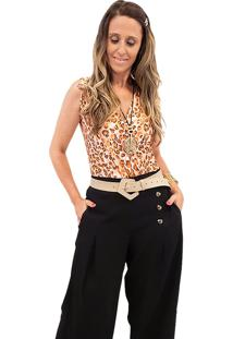 Body Transpassado Mania De Sophia Animal Print
