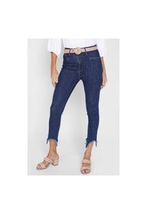 Calça Cropped Jeans Lança Perfume Skinny Assimétrica Azul-Marinho