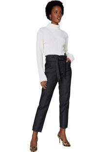 Calça Jeans Slim Com Amarração