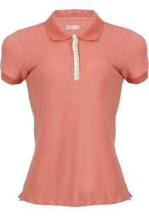 Camisa Polo Seeder Com Renda Terracota