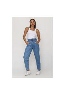Calça Baggy Jeans Com Cinto 42 Gazzy