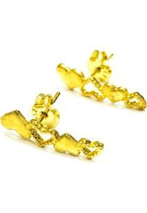 Brinco Prata Mil Coração De Ouro Ouro - Kanui