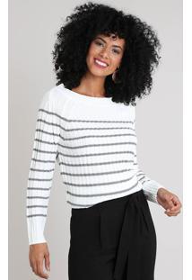 Suéter Feminino Em Tricô Listrado Off White