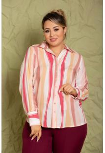 Camisa Manga Longa Charlotte Listras Rosa Plus Size