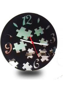 Relógio De Parede Decorativo Em Madeira Mdf Laminado E Detalhes Em Espelhos Decoramix