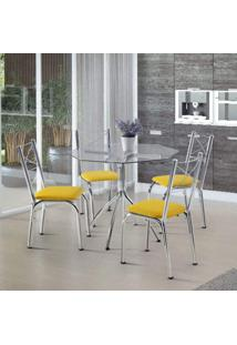Conjunto De Mesa Com 4 Cadeiras Amarok Móveis Brastubo Incolor/Amarelo