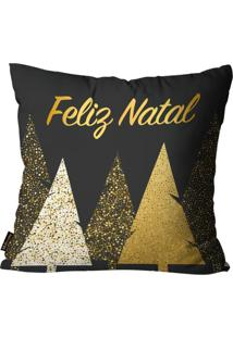 Capa Para Almofada Mdecore Natal Feliz Natal Preta 45X45Cm