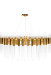 Lustre De Vidro E Metal Dourado Cork