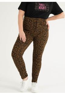 e6ccfac24 ... Calça Skinny Animal Print Em Sarja Curve   Plus Size
