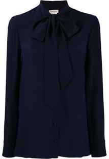 Alexander Mcqueen Crepe De Chine Necktie Blouse - Azul