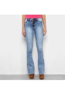 Calça Jeans Flare Estonada Quatro Botões Feminina - Feminino