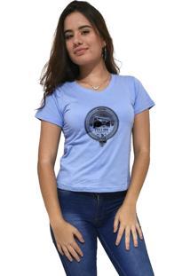 Camiseta Feminina Gola V Cellos Boom Box Premium Azul Claro - Kanui