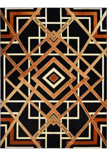 Tapete Marbella Reims Retangular (150X200Cm) Caramelo E Preto