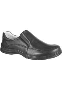 Sapato Confort Plus Em Couro Bmbrasil Liso 2711 - Masculino-Preto