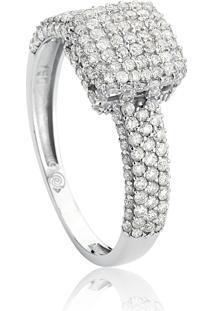 Anel De Ouro Branco 18K Pavê Quadrado E Aro Com Diamantes-Coleção Engaged