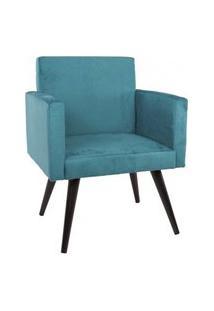Poltrona Decorativa Pés Palito Mobile Suede Azul