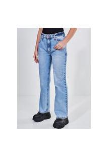 Calça Reta Em Jeans Cintura Baixa