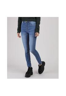 Calça Jeans Feminina Sawary Cigarrete Levanta Bumbum Cintura Alta Azul Médio