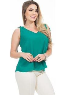 Blusa Clara Arruda Alça Dupla Feminina - Feminino-Verde