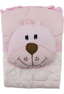 Capa De Carrinho Com Travesseiro Bruna Baby Coroa Branca Rosa