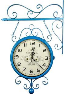 Relógio De Parede Face Dupla Para Decoração - Estilo Estação Antiga De Trem - La Tour Du Pin, France R3P Import