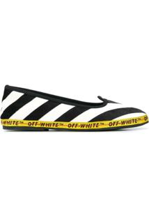 Off-White Sapatilha Com Listras Laterais - Preto