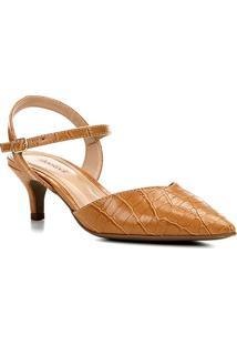 Scarpin Shoestock Croco Salto Baixo Recorte - Feminino-Caramelo