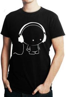 Camiseta Criativa Urbana Fone Cartoon - Masculino-Preto