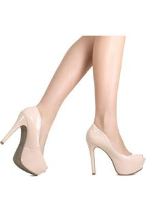Peep Toe Zariff Shoes Meia Pata - Feminino-Nude