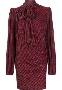 Marc Jacobs Vestido Mini Com Listras Metálicas - Vermelho