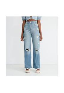 Calça Wide Leg Jeans Com Rasgos E Puídos | Blue Steel | Azul | 46