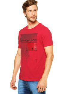 Camiseta Calvin Klein Jeans Reta Vermelha
